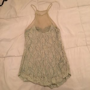 Tops - Mint Green Lace and Mesh Camisole